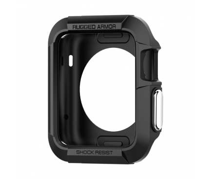Husa TPU Spigen Rugged Armor pentru Apple Watch 42mm, Neagra, Blister SGP11496