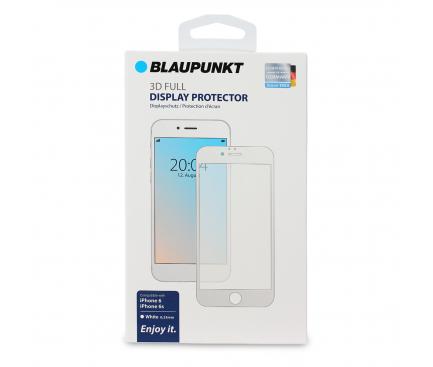 Folie Protectie Ecran Blaupunkt pentru Apple iPhone 6 / Apple iPhone 6s, Sticla securizata, Full Face, Full Glue, 3D, Alba, Blister BP-3DW-IP6