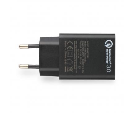 Incarcator Retea USB Blaupunkt Qualcomm Quick Charge 3,  1 X USB, Negru, Blister BP-QCB-20A