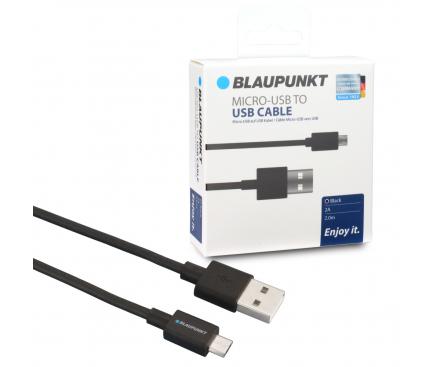 Cablu Date si Incarcare USB la MicroUSB Blaupunkt, 2 m, Negru, Blister BP-MCB20-T