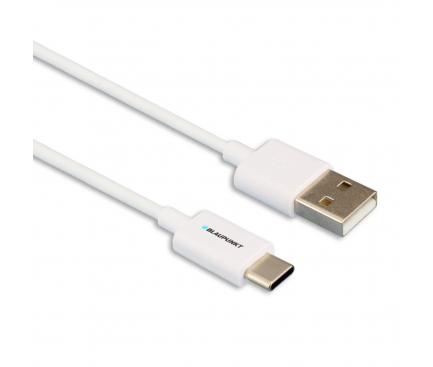 Cablu Date si Incarcare USB la USB Type-C Blaupunkt, 1.2 m, Alb, Blister BP-TCW12-T