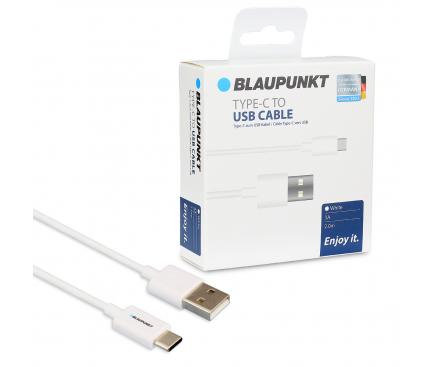Cablu Date si Incarcare USB la USB Type-C Blaupunkt 3A, 2 m, Alb, Blister BP-TCW20-T
