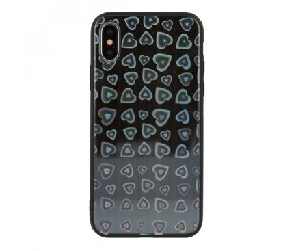 Husa TPU Vennus Heart cu spate din sticla pentru Samsung Galaxy S8 G950, Neagra, Bulk