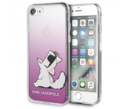 Husa Plastic Karl Lagerfeld Choupette Fun Dog pentru Apple iPhone 7 / Apple iPhone 8, Roz - Transparenta, Blister KLHCI8CFNRCPI