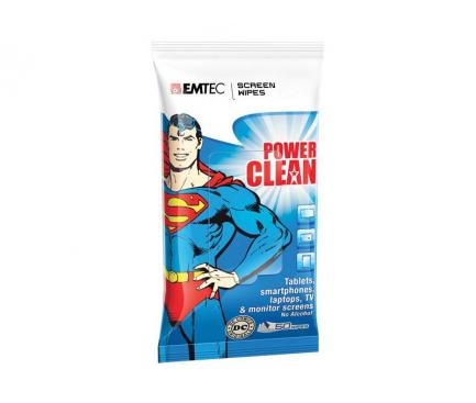 Set Servetele curatare ecrane EMTEC Superman (Set 50 bucati), fara alcool Blister