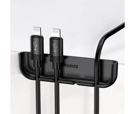 Suport birou cu adeziv pentru organizare cabluri Baseus, Negru, Blister Original ACAPIPH65-A01