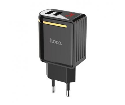Incarcator Retea USB HOCO C39A cu afisaj LED, 2 X USB, Negru, Blister