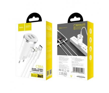 Incarcator Retea cu cablu Lightning - MicroUSB - USB Tip-C HOCO C38A, 2 X USB, Alb, Blister