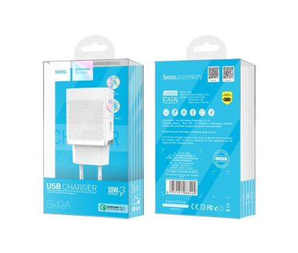 Incarcator Retea USB HOCO C42A Vast Power Quick Charge 3.0, 1 X USB, Alb, Blister