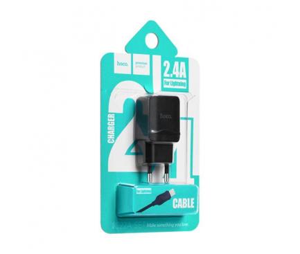 Incarcator Retea cu cablu Lightning HOCO C22A, 1 X USB, Negru, Blister