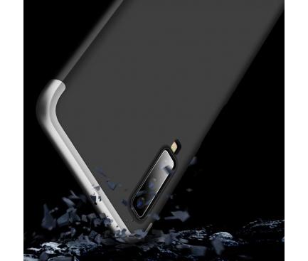 Husa Plastic OEM Full Cover pentru Samsung Galaxy A7 (2018) A750, Argintie - Neagra, Bulk