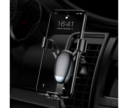 Suport Auto Universal Baseus Air Outlet Mini Gravity SUYL-G01, Negru, Blister