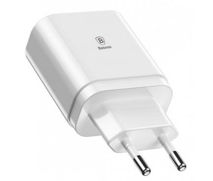 Incarcator Retea USB Baseus Mirror CCALL-BH02, Cu Afisaj, 3 x USB, Alb, Blister