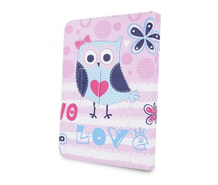 Husa Poliuretan GreenGo Little Owl pentru Tableta 7 inci - 8 inci, Multicolor, Bulk