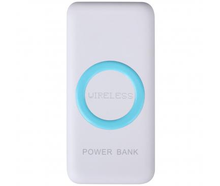 Baterie Externa Powerbank Star W200 12000 mA, 2 x USB - Wireless, Alba, Blister 162609