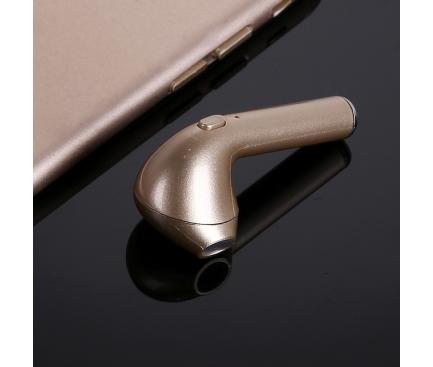 Handsfree Casca Bluetooth OEM HBQ-i7, SinglePoint, Auriu, Blister