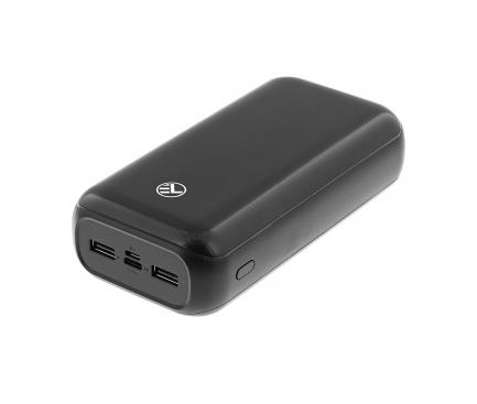 Baterie Externa Powerbank Tellur Compact 30000 mA, 2 x USB - USB Type-C, Neagra, Blister TLL158221