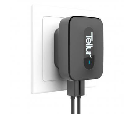 Incarcator Retea USB Tellur Quick Charge, 3 x USB, Negru, Blister TLL151081