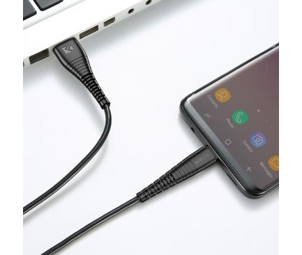 Cablu Date si Incarcare USB la MicroUSB Floveme, 1 m, Negru, Blister