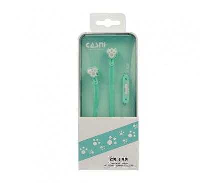 Handsfree Casti In-Ear CASNI Paw CS132, Cu microfon, 3.5 mm, Verde, Blister