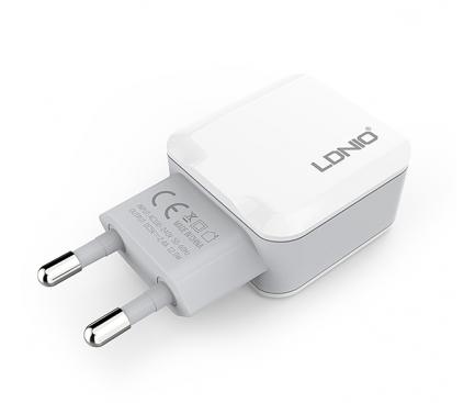 Incarcator Retea USB Ldnio A2202, 2.4A, 2 X USB, Alb, Blister