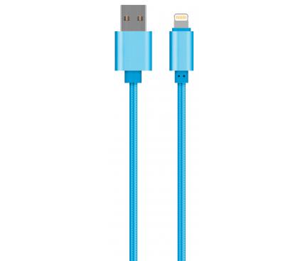Cablu Date si Incarcare USB la Lightning OEM Woven, 1 m, Albastru, Bulk