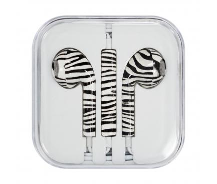 Handsfree Casti EarBuds OEM iPhone iPad iPod Zebra, Cu microfon, 3.5 mm, Multicolor, Bulk