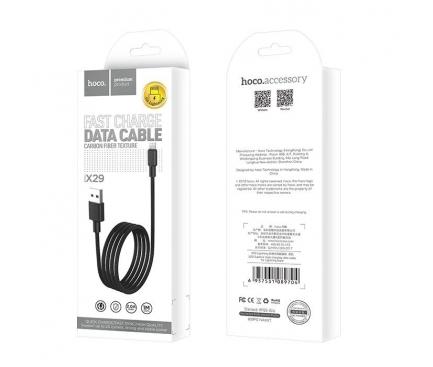 Cablu Date si Incarcare USB la Lightning HOCO Superior X29, 1 m, Negru, Blister