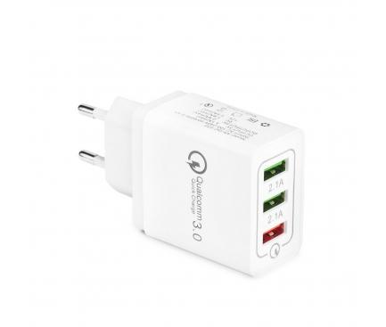 Incarcator Retea USB OEM Quick Charge, 5.1A, 3 x USB, Alb, Bulk