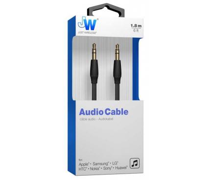 Cablu audio 3.5 mm la 3.5 mm Just Wireless, 1.8 m, Negru, Blister