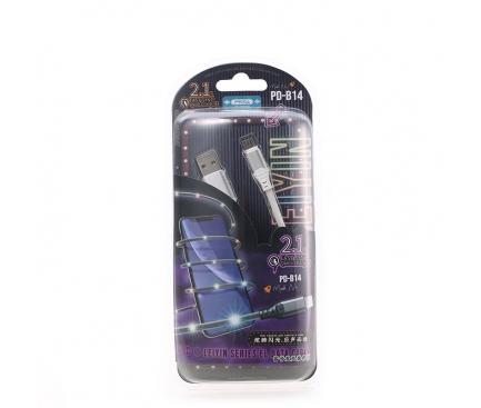 Cablu Date si Incarcare USB la MicroUSB Proda Leiyin PD-B14m, cu LED-uri Audio, 2.1A, 1 m, Alb, Blister