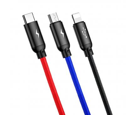 Cablu Date si Incarcare USB la Lightning - USB la MicroUSB - USB la USB Type-C Baseus Three Primary Colors 3.5A, 1.2 m, Negru, Blister CAMLT-BSY01
