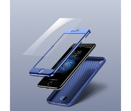 Husa TPU Baseus Full Cover + Folie sticla securizata pentru Apple iPhone 7 / Apple iPhone 8, Bleumarin, Blister WIAPIPH8N-BA03