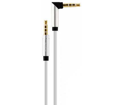 Cablu Audio 3.5 mm la 3.5 mm Earldom AUX01, 1 m, Alb, Blister