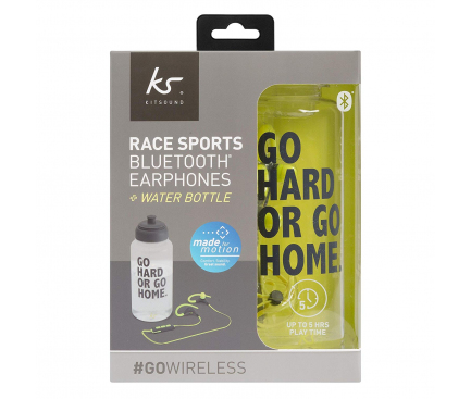 Handsfree Casti Bluetooth KitSound Race + Sticla Water Bottle, Sport, Negru-Verde, Blister KSRACBBK