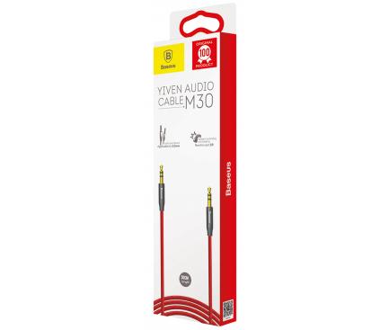 Cablu Audio 3.5 mm la 3.5 mm Baseus M30, 0.5 m, Rosu, Blister CAM30-A91