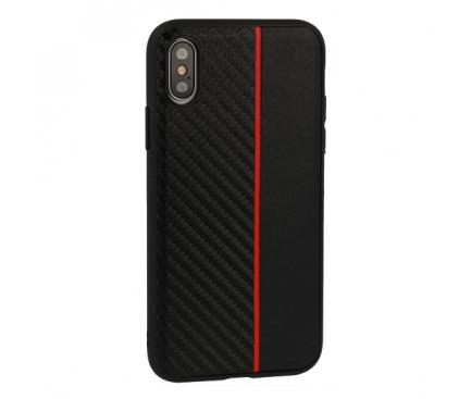 Husa TPU OEM Moto Carbon pentru Samsung Galaxy A7 (2018) A750, Neagra - Rosie, Bulk