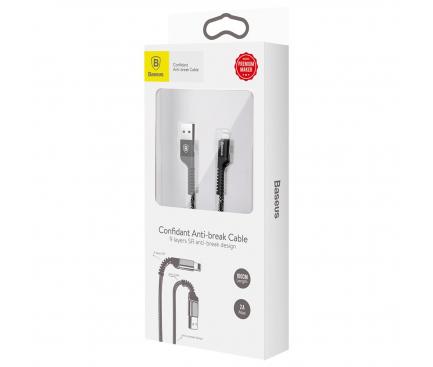 Cablu Date si Incarcare USB la Lightning Baseus Confidant Anti-break, 2A, 1 m, Negru, Blister CALZJ-A01