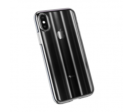 Husa Plastic Baseus Aurora Ombre pentru Apple iPhone X / Apple iPhone XS, Neagra, Blister WIAPIPH58-JG01
