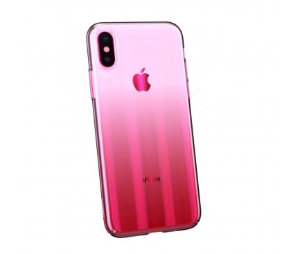 Husa Plastic Baseus Aurora Ombre pentru Apple iPhone X / Apple iPhone XS, Roz, Blister WIAPIPH58-JG04