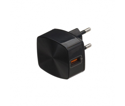 Incarcator Retea USB Remax Quick Charge RP-U114, 1 X USB, Negru, Blister