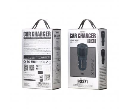 Incarcator Auto USB Remax Retour RCC221 Quick Charge 3.0 2.4A, 2 X USB, Negru, Blister