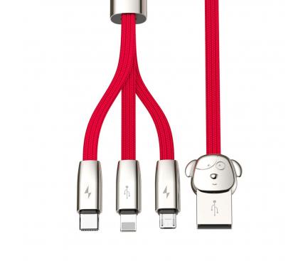 Cablu Date si Incarcare USB la Lightning - USB la MicroUSB - USB la USB Type-C Baseus FuWang Cute 3A, 1.2 m, Rosu, Blister CAMLT-FW09