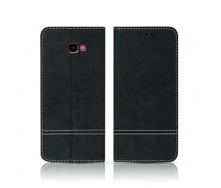 Husa Piele OEM Suede Book pentru Samsung Galaxy A7 (2018) A750, Neagra, Blister