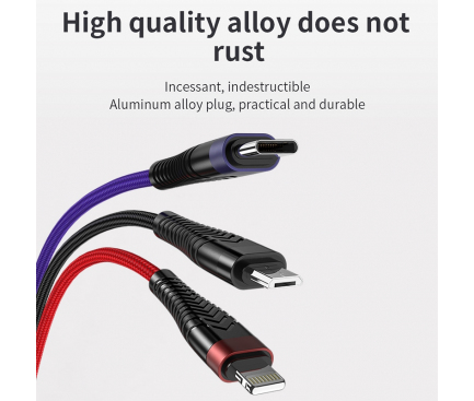 Cablu Date si Incarcare USB la Lightning - USB la MicroUSB - USB la USB Type-C Joyroom S-M377, 1.5 m, Multicolor, Blister