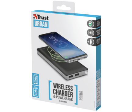 Baterie Externa Powerbank Trust Primo Thin cu incarcare wireless, 8000 mA,  Neagra, Blister