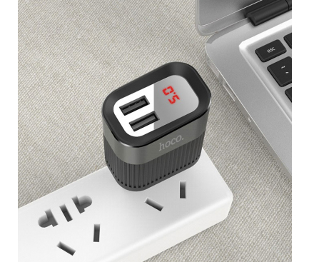 Incarcator Retea USB HOCO C40A cu afisaj LED, 2 X USB, Negru, Blister