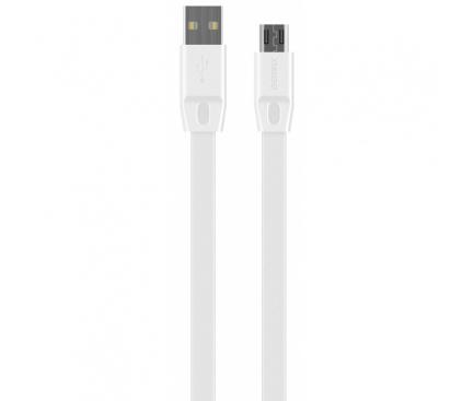 Cablu Date si Incarcare USB la MicroUSB Remax RC-001m Full Speed, 2 m, Alb, Blister