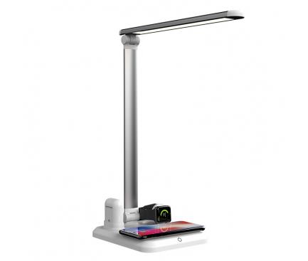 Lampa De Birou Star X-1 cu modul incarcare wireless, docking Apple Airpods si incarcator Apple Watch, Alba-Argintie, Blister