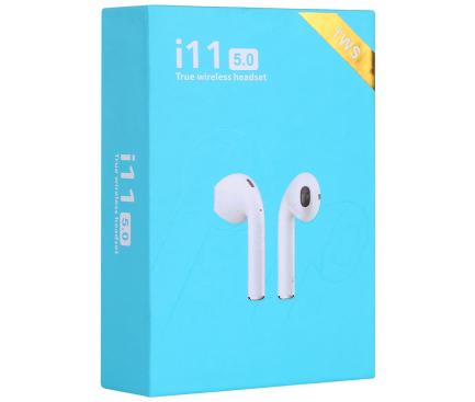 Handsfree Casti Bluetooth TWS i11 cu suport incarcare, MultiPoint, Alb, Blister